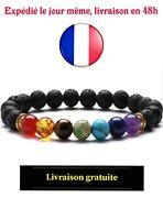 Bracelet 7 CHAKRA Perles de Guérison Naturelle Pierre Lave Bijoux Tendance Yoga