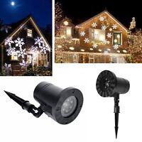 Snow Laser Projector Light LED Snowflakes Lamp Waterproof Garden Christmas Decor