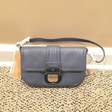 New MICHAEL KORS $138 Charlton Leather Demi Purse Hand Bag Wristlet Blue~NWT