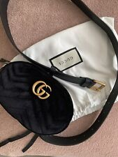 Authentic Gucci Bag Black Velvet Belt Bag New With Dust Bag
