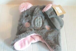 Infant Baby Girl 9-18 Months Gray Koala Bear Fleece Winter Hat & Mittens Set NEW