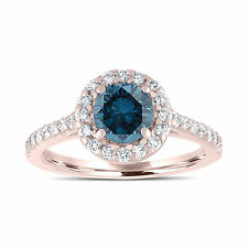 Enhanced Blue Diamond Engagement Ring 14K Rose Gold Halo Pave 1.55 Carat