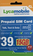 LYCAMOBILE Preloaded $39 Plan Sim Card Prepaid 1 Month TalkText Data 15GB 4G LTE