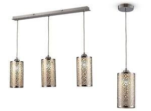 Metal Pendant Hanging Bar 1 or 3 Light Silver Vintage Cylinder Glass Shades