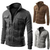 Mens Slim Zip Up Coat Sweatshirt Winter Warm Sports Gym Cardigan Jacket Outwear