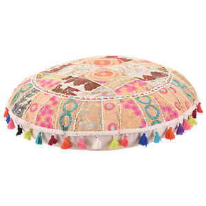 "32"" White Round Floor Pillow Bohemian Patchwork floor cushion pouf Vintage India"