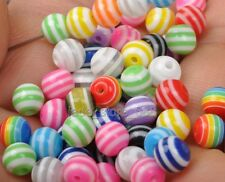 50Pcs Mixed color Striped Round Resin Spacer  Spacer Beads 6mm