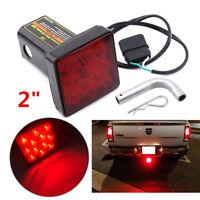 "2"" Trailer Hitch Cover Mount Tail Brake Light 12 LED Tow Bar Lamp Turck w/ Pin"