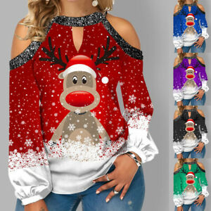Womens Christmas Blouse Xmas Sweatshirt Elk Tee Cold Shoulder Shirt Ladies Tops