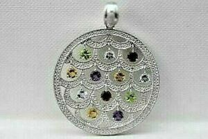 Sterling Silver Holiday Ornament Round Pendant Multi Gemstones Christmas Tree