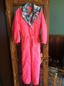 Retro 80s Womens Hot Pink Ski Snow Suit One Piece Skiing Onesy Ladies 14/164 XS