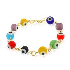 Fashion 18K Yellow Gold Filled Beaded Evil Eye Multicolor Link Bracelet