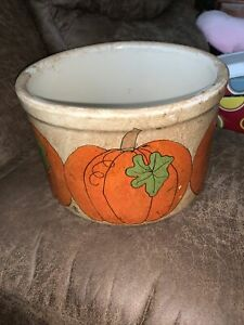 Halloween Fall themed 2 QT Low Crock Stoneware R.R.P. Co Roseville OH Pottery