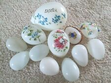 12 Vintage Antique Milk Glass Hand Blown Nesting Eggs 3 Easter