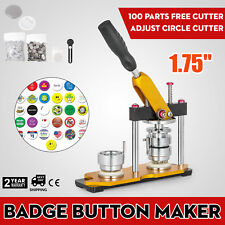 "44mm 1.75"" Button Maker Badge Press Machine +100Pcs Bags Pin Buttons Rotate"