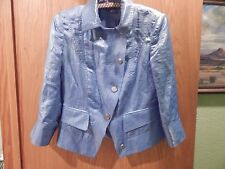 Per Se Luxury Brand Jacket Baby Blue Linen / Nylon 6 nwot BEAUTIFUL