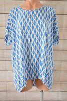 Namastai Tunic Top Smock Size 1 Large 12 14 Blue White Short Sleeve Blouse