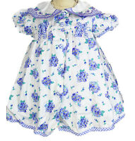 Vintage Baby Girl 12 Mo Dress Purple Spring Floral Fancy Collar