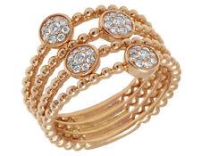 Ladies 14K Rose Gold Openwork Real Diamond Flower Cluster Bead Ring 0.3CT