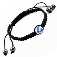 Macrame Bracelet with Flower Bead and Hematite Adjustable