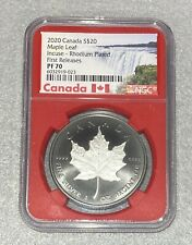 2020 CANADA $20 Silver MAPLE LEAF INCUSE RHODIUM NGC PF70 PR70 First Release Red