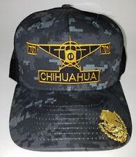 EL AVION DEL CHAPO GUZMAN 701 CHIHUAHUA  HAT 2 LOGOS DIGITAL HAT GRAY BLACK