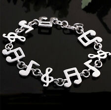Musical ornaments bracelet 925 silver (plated) quality links & lobster claw lock