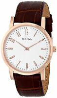 Bulova Classic Men's Quartz Rose Gold Case Brown Leather Strap 38mm Watch 97A106