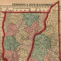 New Hampshire Vermont miniature 1858 Gaston antique U.S. state map hand color