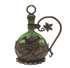Arts & Crafts Green Glass Decanter Copper Holder Grape Vine Wood Stopper Ring