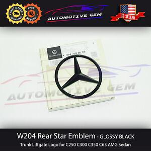 C63 C300 AMG Trunk Star Emblem GLOSS BLACK Rear Logo Badge Mercedes C250 W204