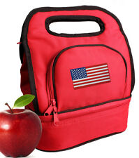 USA Lunch Bag Lunchbox Red Cooler Bags 2 SECTIONS!