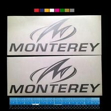 """2 (TWO)   MONTEREY BOATS Marine HQ Decals 12"""" - Silver Metallic + more  v1"""