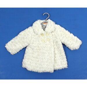 Ex Store Baby Girls Cream Rosebud Fluffy Coat Jacket Age 0 3 6 9 12 Months New
