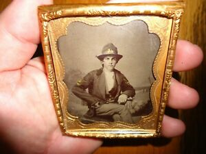 Original Civil War Soldier Tintype Photograph AMPUTEE with IRON HAND PROSTHESIS