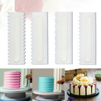 4Pcs Cake Decorating Comb Edge Smoother Cheese Butter Scraper Pastry Baking Tool