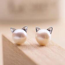 925 Silver Lovely Freshwater Pearl Cat Kitty Head Stud Earrings For Women Gift