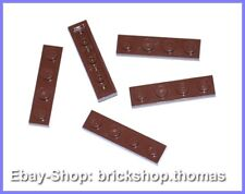 Lego 5 x Plate Braun 1x4 Panel - 3710 Plate Plates Reddish Brown - New / New