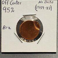 1962-1982 ND Brass Alloy Lincoln Memorial Cent 95% Off Center Error Coin UNC
