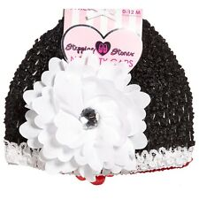 0-12 Months Black Floral Girls and Polyester / Spandex KNIT BABY HAT