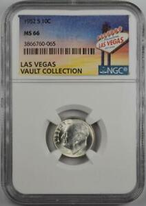 1952-S Roosevelt Silver Dime NGC MS 66 Las Vegas Vault Collection Home of Binion