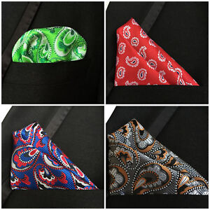Blue Red Grey Orange Green White Paisley Pocket Square Silk Handkerchief