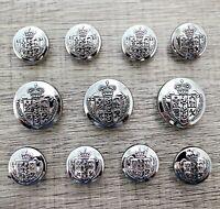 J265 Lot 11 15/20mm Anti Silver Metal Blazer Suit Set Button Bespoke Shield