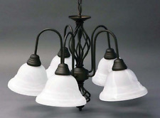 "5-Light Oil-Rubbed Bronze White Marble Glass Shades Chandelier 18.5""H x 24""W"