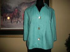 Orvis 8 Linen Turquoise Aqua Blue Jacket Blazer Lightweight 3/4 Sleeves Pearl