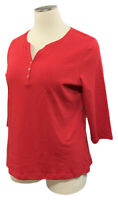 KAREN SCOTT 2X Amore Red Cotton 3/4 Sleeve Split-V Henley Knit Top