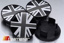 Union Jack in Black & White Center Wheel Hup Caps Set 54mm for BMW Mini Cooper