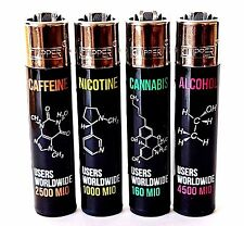 4 Rare Clipper Lighters - Drug Molecules Chemistry Set - Weed Alcohol Smoking