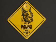 Boston Terrier On Board Dog Breed Yellow Car Swing Sign Gift