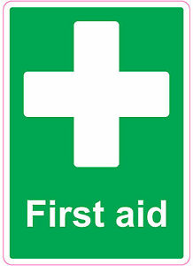 FIRST AID health and safety signs stickers Medical 205x290mm